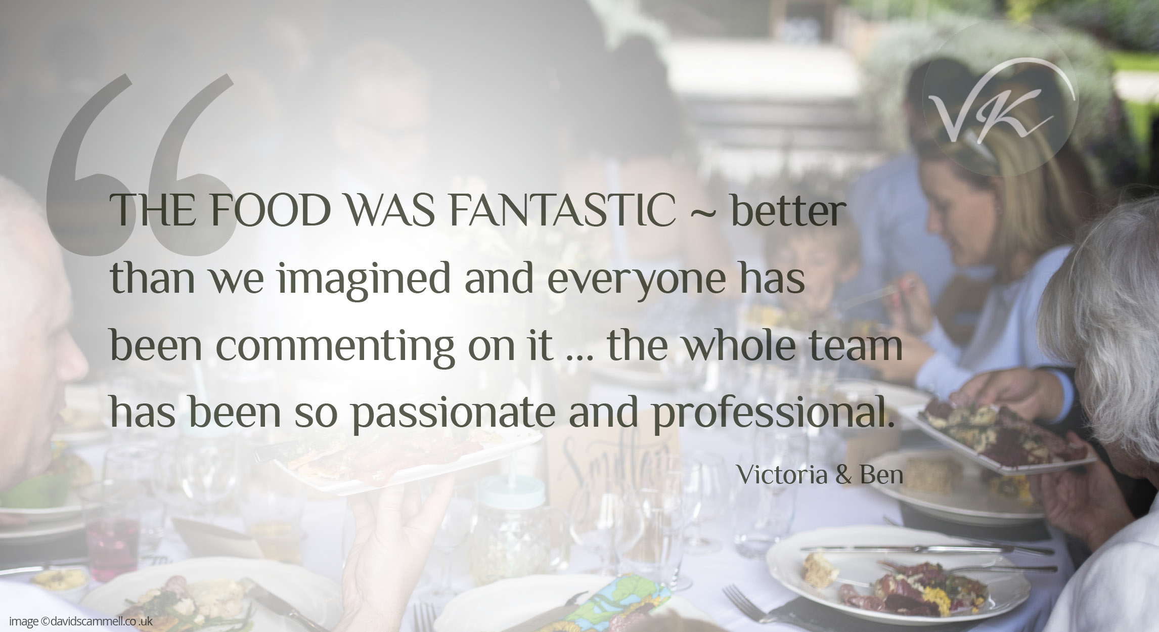Quote from couple about Vaughan's Kitchen Wedding Catering